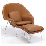 Conjunto Womb Chair Couro Natural Caramelo