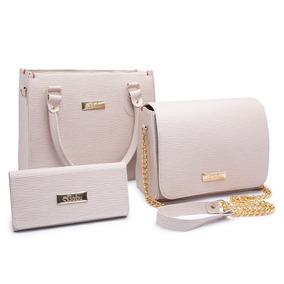 Conjunto Feminino Com 2 Bolsas Tamanhos Diferentes+carteira