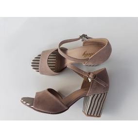 Sandália Salto Grosso Alto Médio 7cm Grosso Peep Toe Boneca