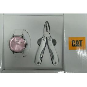 Reloj Cat Con Pinzas Multiusos Dama Piel Blanc 05.340.30.333