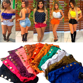 Shorts Jeans Feminino Destroyed Hot Pants 5 Peças Revenda!