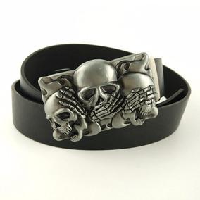 Cinto Couro C  Fivela Caveira Skull Moto Tattoo Rock Metal 6a2efc09cd3