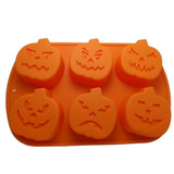 Molde Silicon Hornear Halloween Calabazas 6 Cavidades