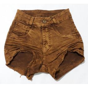 Short Jeans Feminino Enrrugado Lycra Hot Pants @espaco.mia