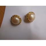 Elegante Par De Aros Antiguos De Perlas Y Stras