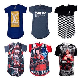 Kit 5 Camisa Camiseta Masculina Long Line Swag Top