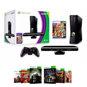 Xbox 360 Slim Destravado 4gb + Kinect + 20 Jogos De Brinde!
