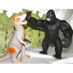 Juntos Godzilla + King Kong Boneco Articulado 25cm Borracha
