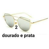 Oculos Feminino Espelhado Olho De Gato Gatinho Redondo Marca cd654b536a