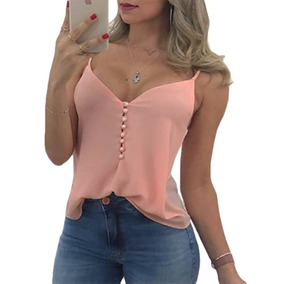 Blusa Basica Soltinha Feminina Regata Alcinha Com Botoes