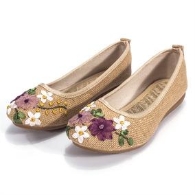 Flor Bordada Pisos Zapatos Chinos Slip De Las Mujeres