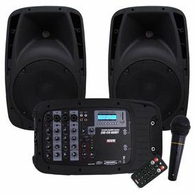 Kit De Som Novik Evo 410 Bluetooth/usb/sd, 2 Caixas 300w Rms