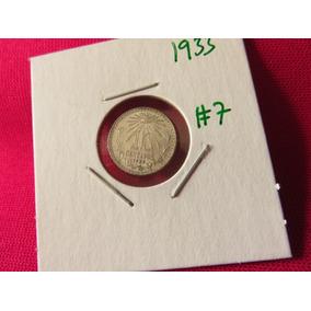 Moneda 10 Centavos 1933 Ley .720 Troquel Roto #7