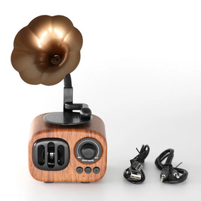 Mini Caixa Som Bluetooth Retrô Madeira Pendrive L Sd Mp3/fm