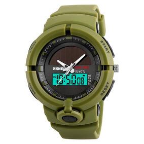 Reloj Tactico Militar Dual Time Solar A Prueba De Agua