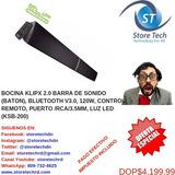 Bocina Klipx 2.0 Barra De Sonido (baton), Bluetooth V3.0, 12