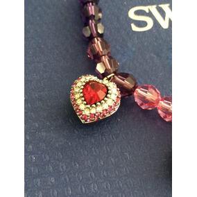 Collar Swarovski Auténtico Dijes Cinco Corazones Esmalte