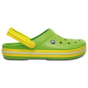 Zapato Crocs Dama Crocband Verde / Amarrillo
