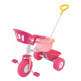 Triciclo Rondi Pink Metal Rosa Con Barra Arrastre Mundomania