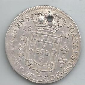Moeda Prata Brasil - 320 Réis - 1810 B - C/furo - Rara