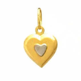 3ac31859d08c6 Pingente Ouro 18k Feminino Dois Corações - Viagold P56