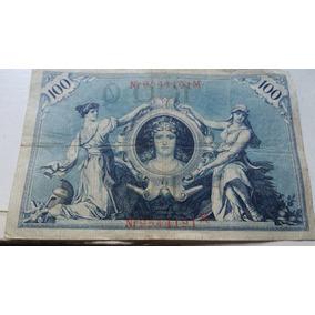 Nota Bancaria 100 Mark Alemã 1908 Império Alemão Cedula Rara