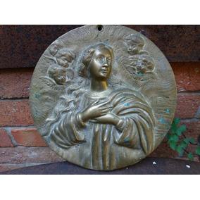 Antiga Placa Arte Sacra Bronze Maciço Estatua Jesus Munddibr