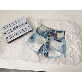 Shorts Feminino Jeans Claro Com Botões Promoção