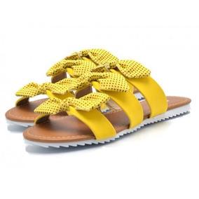 Sandália Rasteira Tiras Com Laços Amarela
