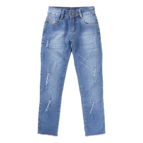 Calça Jeans Destroyed Com Barra Desfiada Menina 913209