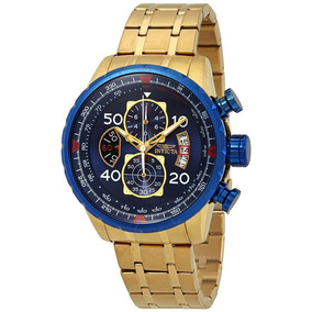Relógio Invicta Aviador 19173 Azul Banhado A Ouro Dourado
