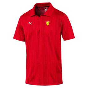 Camisa Ferrari Puma Sf Jacquard Polo Rosso Corsa - Original
