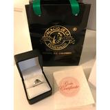 Anillo De Oro Blanco Esmeralda 0.35 Y Diamantes