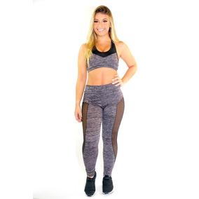 Conjunto Fitness Calça Legging + Top Feminino Rajado