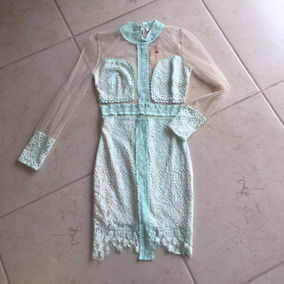 Vestidos de encaje cortos color verde