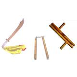 Kit 3 Armas Kung-fu Wushu Chinês Facão Tonfa Nunchaku