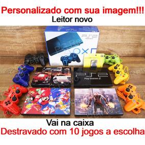 Playstation 2 Slim + 02 Controles + 10 Jogos + Memory C Ps2