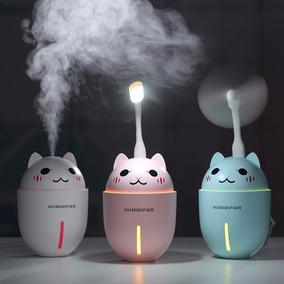 Humificador Gato Rosa Difusor+lampara+ventilador+ Esencia.