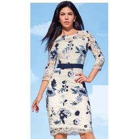 Vestido Ivory Multicolor Azul C/bordados Cklass 981-00