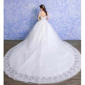 Vestido De Noiva Princesa Cauda Evangélica Rendado Lindo 23