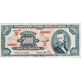 Cédula - Única 5000 Cruzeiros Tiradentes 000001 Linda 1 Est