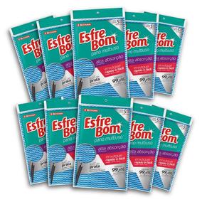 Kit Com 10 Esfrebom Pano Multiuso Almof Azul