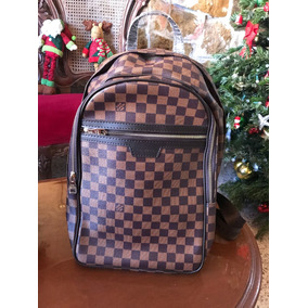 Backpack Lv A Cuadros Café Mochila