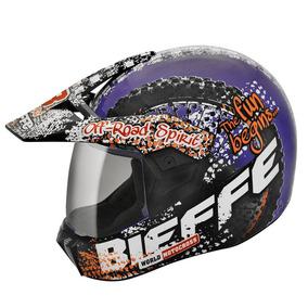 Capacete Bieffe 3 Sport Dirt Roxo Laranja - 61