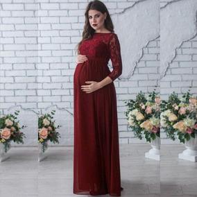 b27fa6f04 Vestido Largo De Manga Larga Con Encaje Para Embarazada
