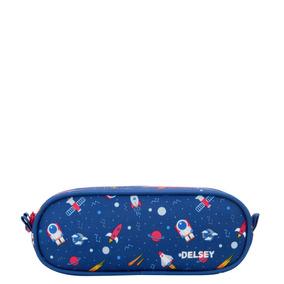 Cartuchera Escolar Con Doble Cierre Delsey (azul Galaxy)
