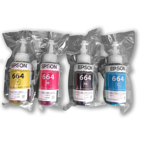 Refil T664 Sem Caixa Epson Kit 4 Cores 70ml Original!