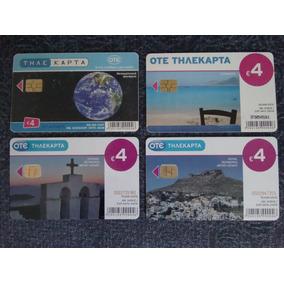 4 Unid. Cartão Telefônico Europa Grécia C/ Chip Ótimo Estado