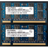 Memorias Ddr2 Kit De 4gb (2x2gb) P/laptop Elpida Pc2-6400s