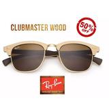 e1521730c08ce Óculos De Sol Ray Ban Clubmaster Wood Rb3016 Madeira